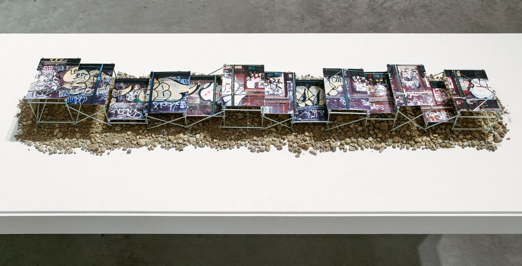 """no. 2: Williamsburg is for Lovers [scale prototype], 2005, mixed media, 60 x 10 x 8"""""""