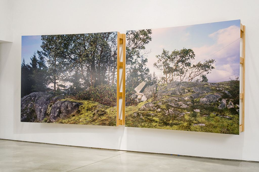 """no. 5: The Bluff (Pursuant to Supreme Court of B.C., Vancouver Registry #S062778), 2007, Lightjet prints on Sintra, rotary oak plywood, and brass and steel screws, 180 x 68 x 20""""; installation view, Charles H Scott Gallery, 2007"""