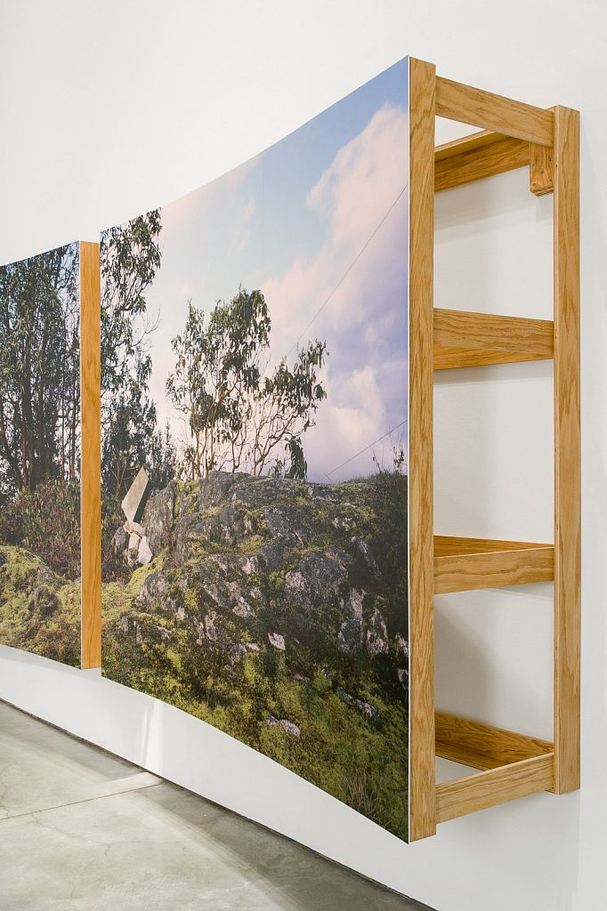 """no. 5: The Bluff (Pursuant to Supreme Court of B.C., Vancouver Registry #S062778) [detail], 2007, Lightjet prints on Sintra, rotary oak plywood, and brass and steel screws, 180 x 68 x 20""""; installation view, Charles H Scott Gallery, 2007"""